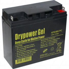 Drypower 12GB17C 12V 17Ah Sealed Lead Acid Gel Deep Cycle Battery replaces CBG12V18AH, HZY-MR12-18, LPG12-17, LG17-12, GF12014YF, GOLF