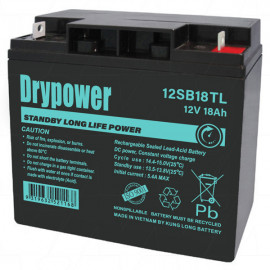 12V 18Ah Drypower Long Life Standby AGM Battery - 6-9 Year Design Life