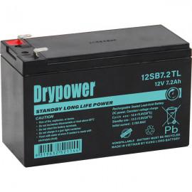 12V 7.2Ah Drypower Long Life Standby AGM Battery - 6-9 Year Design Life