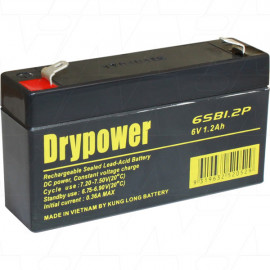 Drypower 6V 1.2Ah Sealed Lead Acid Battery. Replaces BP1.2-6, PS612, DM6-1.1, DM6-1.3, CF6V1.3, FG10121, CB6V1.2AH, NP1.2-6, LP6-1.2, WP1.2-6, LC-R061R3P, PB6/1.3, PS-612, PE6V1.2F1, RT613, CP612, NP1.2-6
