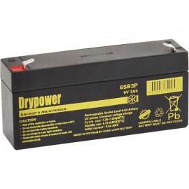 6SB3P - Drypower 6V 3Ah Sealed Lead Acid Battery replaces BP3-6, PS630, DM6-3.2, DM6-3.3, HGL3.2-6, FG10301, NP3-6, LP6-3.2, WP3-6, LC-R063R4P, PS-630, PE6V3A, NP3-6