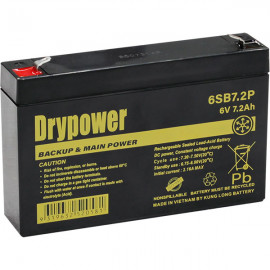 Drypower 6V 7.2Ah Sealed Lead Acid Battery replaces TP6-7, LC-R067R2P, PE6V7.2