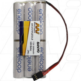 Eneloop AA NiMH 7.2V R/C TRIPLESTICK Hobby Battery Pack - JR flat connector