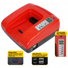 Universal 21.6-36V NiCd / NiMH / LiIon Powertool Battery Charger Base - High Voltage Model (Red Colour)