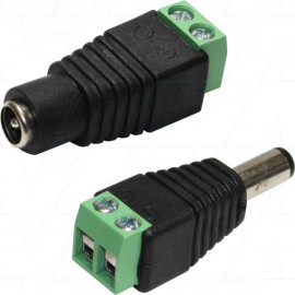 2.1mm DC Plug to Terminal Block Type Connector (Pair - Male DC & Female DC)