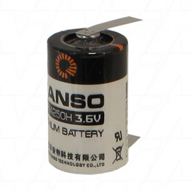 Fanso ER14250H/T 1/2AA size 3.6V 1200mAh Lithium Thionyl Chloride Battery - Bobbin Type with Solder Tags