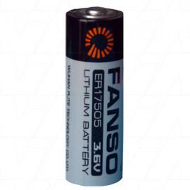 Fanso ER17505 A size 3.6V 3600mAh High Capacity Lithium Thionyl Chloride Battery - Bobbin Type