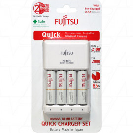 1 to 4 AA/AAA Cell Quick Battery Charger including 4 x Fujitsu HR-3UTC AA 2100 cycle batteries