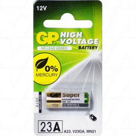 23A, GP23A Alkaline Battery Replaces 1811A, 23A, 8F10R, 8LR32, 8LR932, A21, A23, BAT012, E23A, EL12, GP23A, K23A, L1028, LR23A, LRV08, MN21, MN23, MS21, N21, RV08, V23GA, VR22