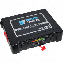 Lithium ion polymer power jump starter with 810A cranking output.
