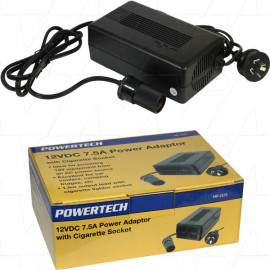 Regulated Switchmode Power Supply 100-240VAC to 12VDC 7.5A with Cigarette Socket