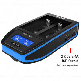 XTAR OVER 4 SLIM LiIon Charger with LCD Display - 12VDC 4A Fast charging