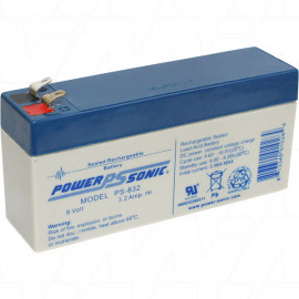 PS832 8V 3.2Ah Sealed Lead Acid Battery Replaces 	A208/2.5s
