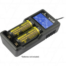 XTAR VC2 1-2 Cell Lithium Ion Battery Charger with USB Input and LCD Display