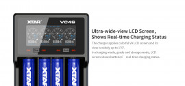 XTAR VC4S 4 Cell LiIon/NiMH Battery Charger with LCD display, Capacity Test & Storage